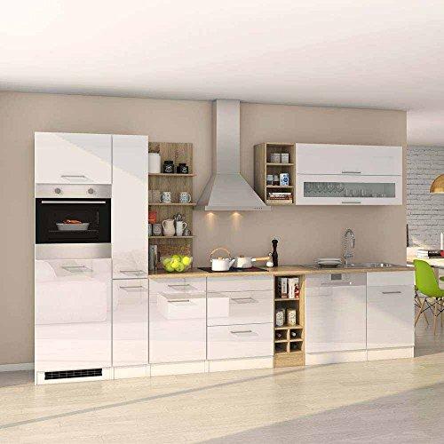 Pharao24 Hochglanz Küchenblock mit E-Geräten Weiß Eiche Sonoma (14-teilig)
