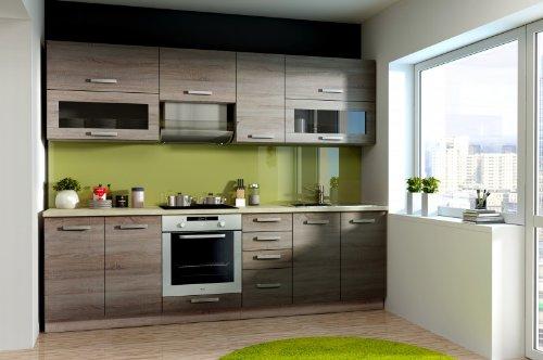 Küche BEN 260 cm Küchenzeile / Küchenblock variabel stellbar in Eiche Sonoma Trüffel