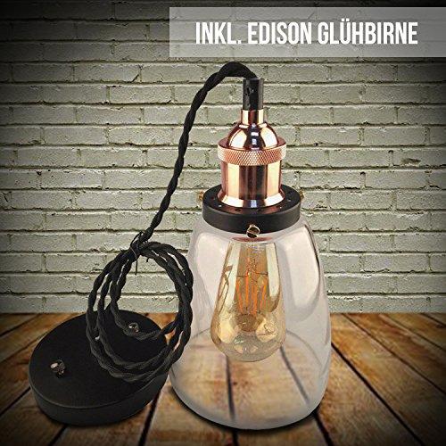 Kypo Retro/Industrie Lampe + Edison LED Glühlampe 4W. Schwarzes Seil [Energieklasse A++]
