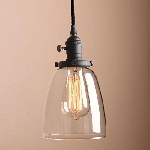 Pathson Antike Pendelleuchte Industrie Loft-Pendelleuchte Klar Glas Pendelleuchte Hängeleuchte Vintage Hängelampen (Schwarz Farbe)