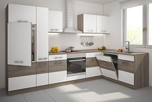 TOP Küche Köln II 310x172 cm Küchenzeile Sonoma Eiche Trüffel + Weiß Küchenblock