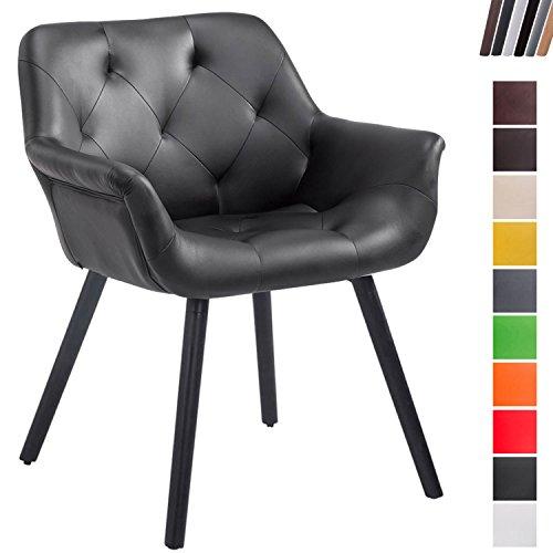 CLP Esszimmerstuhl CASSIDY mit Kunstlederbezug und sesselförmigem gepolstertem Sitz | Retrostuhl mit Armlehne und einer Sitzhöhe von 46 cm | In verschiedenen Farben erhältlich Schwarz, Gestellfarbe: Schwarz