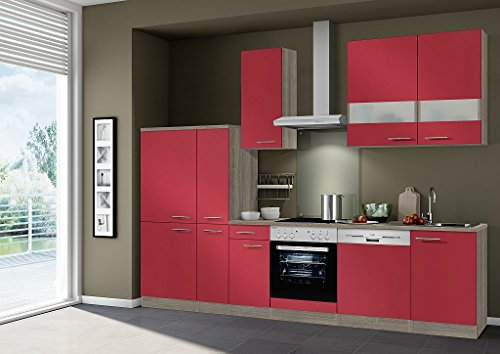 idealshopping k chenblock imola ohne elektroger te in rot gl nzend 300 cm breit. Black Bedroom Furniture Sets. Home Design Ideas