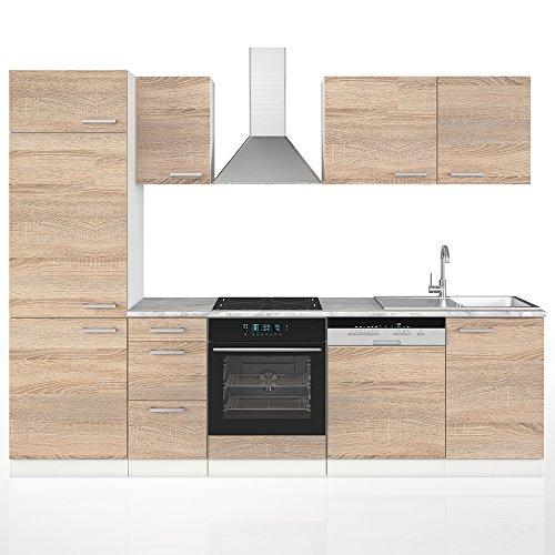 Vicco Küche 270 cm Küchenzeile Küchenblock Einbauküche Komplettküche – Sonoma Eiche Frei Kombinierbar