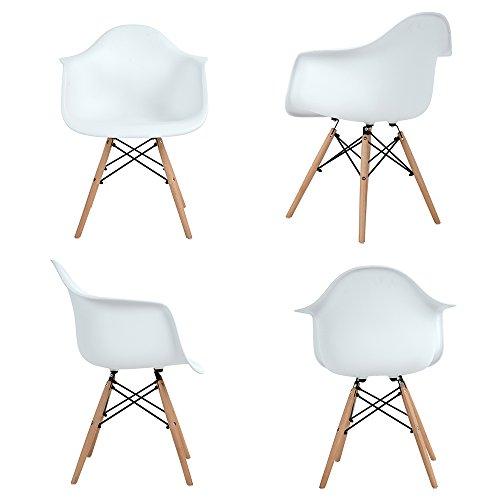 EGGREE Lot von 4 Esszimmerstuhl, Retro Stuhl Beistelltisch mit solide Buchenholz Bein - weiß