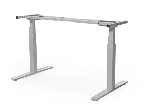boho möbelwerkstatt DO IT YOURSELF Basic Line - elektrisch stufenlos höhenverstellbares Tischgestell, höhenverstellbarer Schreibtisch in Silber für Tischplatten von 120 - 180 cm mit gratis Kabelmanagement