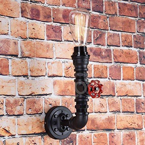 Vintage Wandleuchte Steampunk Rohr: 1 Lampen-Design im Retro Stil mit rotem Verschlussrad, Rustikal, Schwarz, B:26cm H:30cm/18cm D:3,5cm, CE- Sicherheit Zertifikation. Perfekte Innendekoration