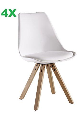 P & N Homewares® (Satz von 4) Sofia Eiffelturm inspiriert Stuhl aus Kunststoff Retro Weiß Schwarz Grau Rot Gelb Pink Grün Blau weiß Skandinavischen Stuhl (WEISS)