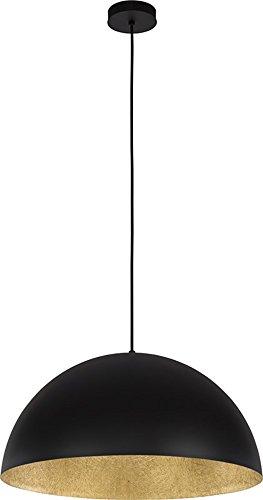 elbmöbel Design Industrie Vintage Deckenleuchte Kronleuchte SOFIE Lampe 34cm 50cm exkl. E27 Leuchtmittel, LED, A++, verfügbar weiß schwarz gold Metall Kupfer Textilkabel Wohn- Esszimmer (Schwarz-Gold, 34cm)