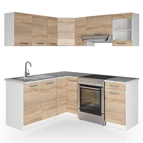 Vicco Winkelküche Küchenzeile 190 x 170 cm - Sonoma Eiche - Küche L-Form Küchenblock Einbauküche Komplettküche Eckküche - frei kombinierbare Möbel-Module