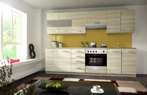 Küche Eko 260 cm Küchenzeile/Küchenblock variabel stellbar in Akazie Holznachbildung