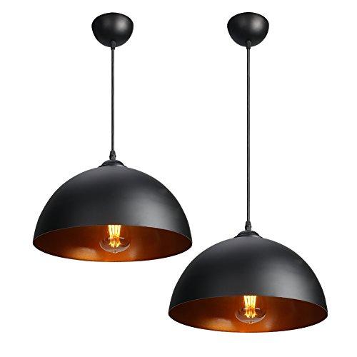 CCLIFE 2x Industrial Vintage Retro Pendellampe Pendelleuchte Hängelampe Hängeleuchte für Küchen Esszimmer Schwarz/Weiß 30cm E27 Leuchtmittel