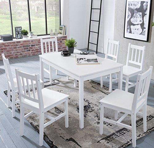 Esstisch und 6 Stühle aus weißem Kiefernholz, Esszimmergarnitur bzw. Esstischset für 6 Personen