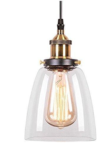 Glighone Pendelleuchte Vintage Glas Hängeleuchte Retro Industrial Hängelampe E27 Anhänger Deckenleuchten Küche Industire Lampe für Esstisch Esszimmer Küche Loft Schlafzimmer Cafes Bar usw.
