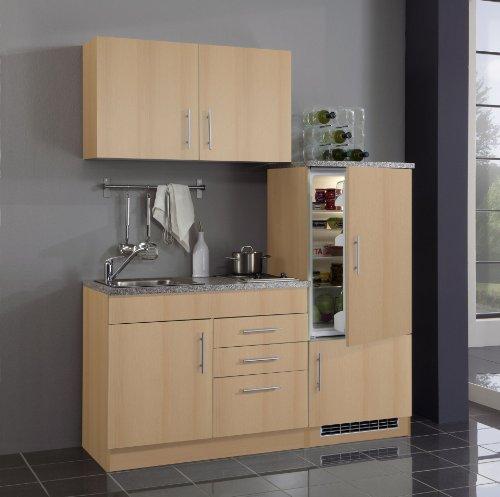 Held Möbel 0 Single-Küche 160 mit 2-er E-Mulde und Kühlschrank mit Gefrierfach