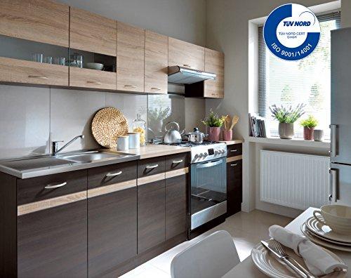 Küche 240cm von FIWODO® - ERWEITERBAR - günstig + schnell - Einbauküche Junona Line Set 240 - 4 Fronten wählbar