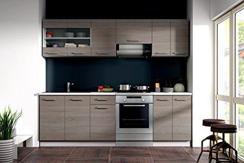 Küche Dave 240 cm Küchenzeile / Küchenblock variabel stellbar in Eiche Sonoma Trüffel