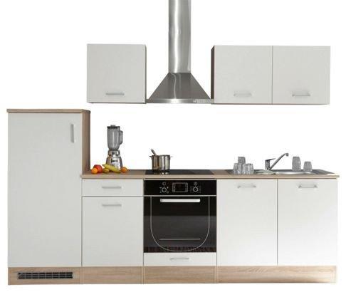 Küchenblock aus Eiche Sonoma / weiß matt Dekor ohne E-Geräte, ca. 270x195x60 cm