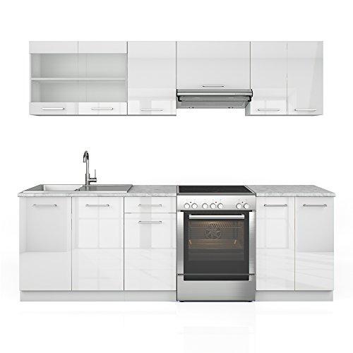 Küchenzeile 240 cm - 7 Schrank-Module frei kombinierbar - Küche Küchenblock Einbauküche – Hochglanz