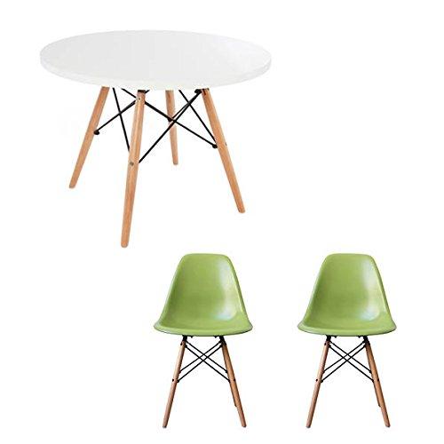 Kinder-Esstisch und Stühle-Set Runder, weißer Tisch mit Stühlen.