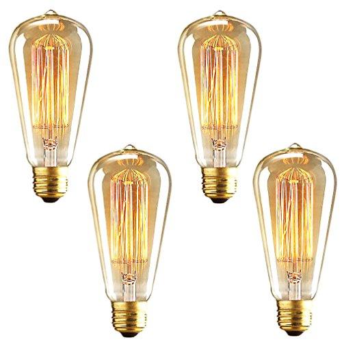 Litehaus 4 Retro Glühbirne für Deckenleuchte Pendelleuchte Leuchtmittel Industria Filament ST64 Schmucklampe 40W E27 Classic Klar Lampenfassung Vintage Edison Design Glühlampen DIY Antike Beleuchtung