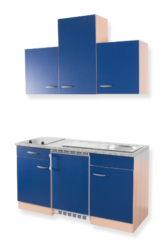 MEBASA MEBAKB15PBC Singleküche Unterbaukühlschrank dekorfähig, Oberschrank und Duo-Kochplatte, 150 cm Buche/Blau