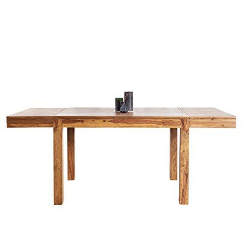 Massiver Esstisch PURE 120-200 cm Sheesham Massivholz ausziehbar Holztisch Küchentisch mit Ansteckplatten