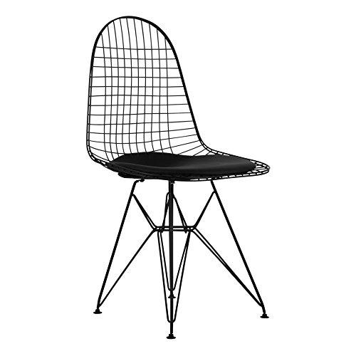 Metall Draht Seite Esszimmerstuhl Retro Mid Century Scandi Retro Chrom, Weiß oder Schwarz Draht Rahmen mit einem schwarz oder weiß Sitz Pad