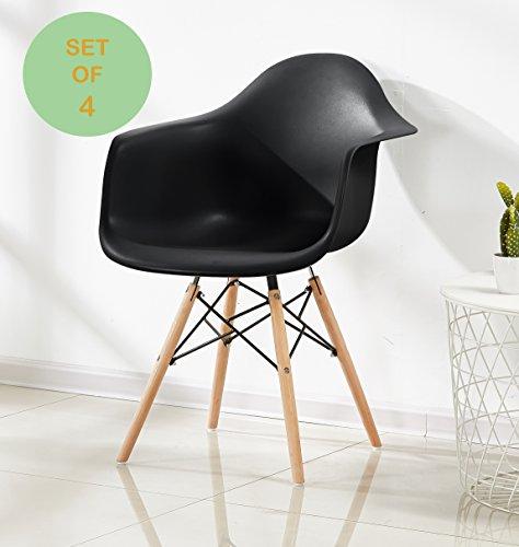P & N Homewares® (Set von 4) Romano Da Moda Badewanne Arm stuhl Kunststoff Retro Esszimmer Stühle weiß schwarz grau rot gelb grün