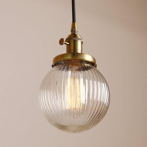 Pathson Antik Design Gestreifte Kleine Kugel Klar Glas innen Pendelleuchte Hängeleuchte Vintage Industrie Loft-Pendelleuchte Hängelampen Hängeleuchte Pendelleuchten