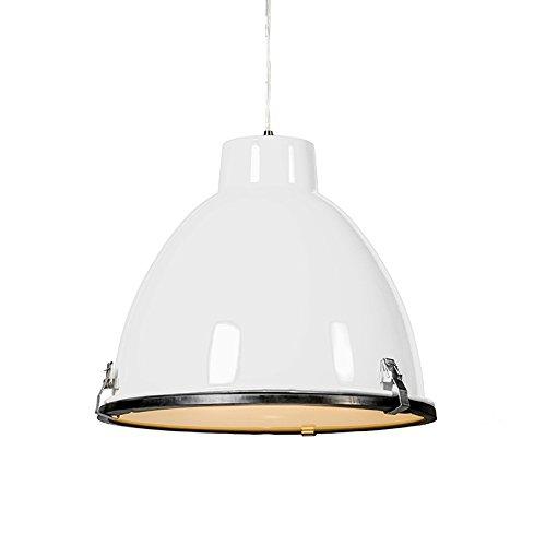 QAZQA Industrie/Industrial/Modern/Esstisch/Esszimmer/Pendelleuchte/Pendellampe/Hängelampe/Lampe/Leuchte Anteros 38 weiß/Innenbeleuchtung/Wohnzimmer/Schlafzimmer/Küche Alumini