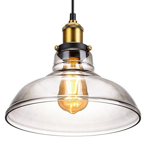 Retro Vintage Pendelleuchte industrielle metalliche Hängelampe, Oak Leaf antike Lampeschirm E27 für Küche und Bar