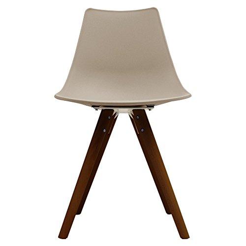 Scandi Retro Stil Designer Kunststoff Stuhl mit Walnuss Beinen