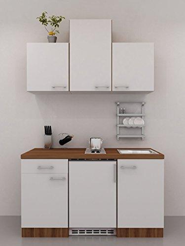 Singleküche 150 cm breit Creme Weiß Nussbaum mit Hochhängeschrank - Como