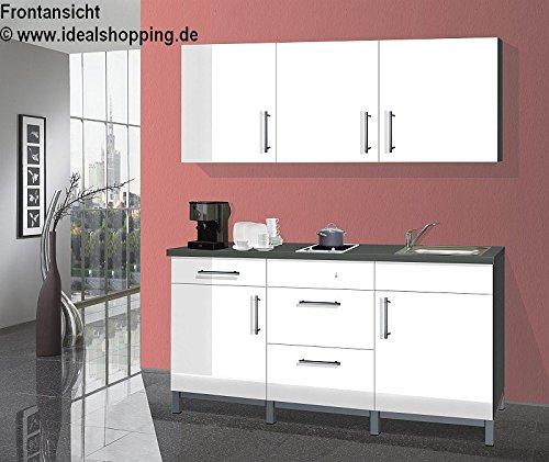Singleküche Rack Time 1 in Lack weiß hochglanz mit Glaskeramik Kochfeld und Spüle