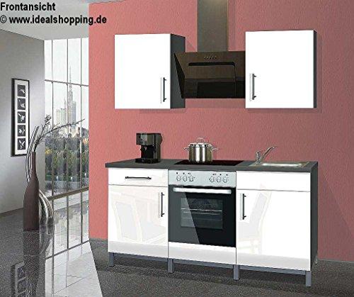 Singleküche Rack Time 2 in Lack weiß hochglanz mit Einbaugeräten und Spüle