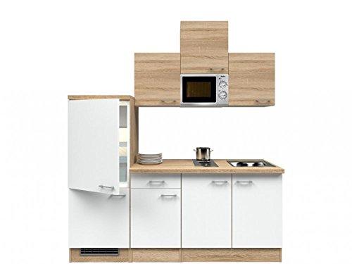 Singleküche Weiß Sonoma Eiche 210 cm mit Kochmulde und Mikrowelle - Salerno