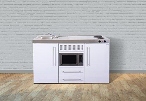 Stengel Miniküche Metallküche Singleküche Küche 150cm weiss Becken rechts