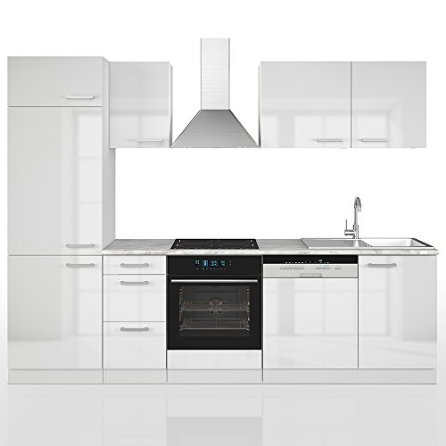 Vicco Küche 270 cm Küchenzeile Küchenblock Einbauküche Komplettküche – Weiß Hochglanz Frei Kombinierbar