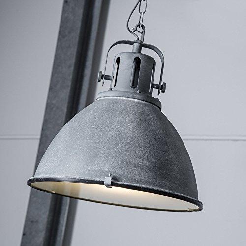 Vintage Pendelleuchte im Industry Beton Design mit Glasscheibe, 1x E27 max. 60W, Metall / Glas, grau Beton