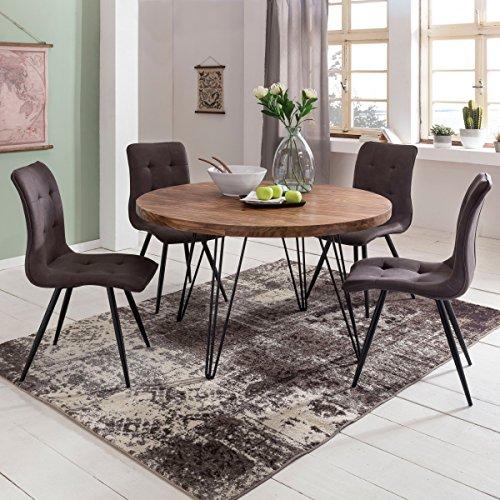 WOHNLING Design:sszimmertisch BAGLI rund Ø 120 x 78 cm Sheesham Massiv-Holz | Landhaus Esstisch braun | Tisch für Esszimmer Küchentisch 4 Personen