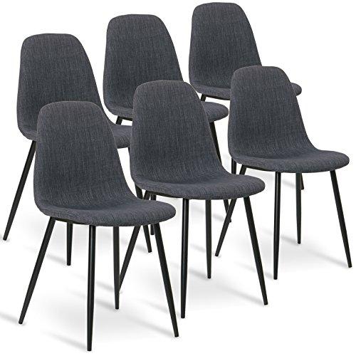 WOLTU 6er Set Esszimmerstühle 6x Esszimmerstuhl Küchenstuhl Wohnzimmerstuhl Polsterstuhl mit Sitzfläche aus Leinen, Gestell aus Stahl, Dunkelgrau BH82dgr-6