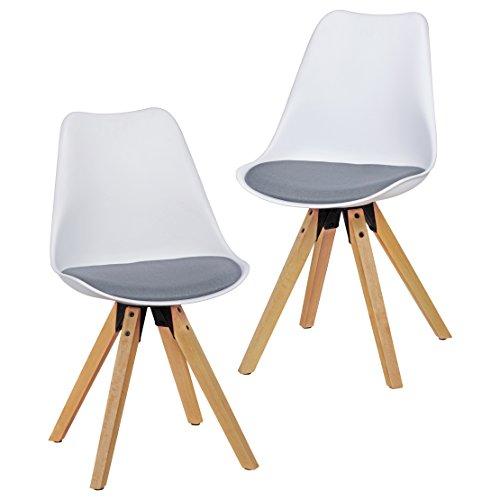 Wohnling 2er Set Retro Esszimmer-Stuhl LIMA ohne Armlehne, Sitzfläche Stoffbezug Küchenstuhl mit weißer Lehne aus Kunststoff und 4 Holz Beinen, Skandinavisches Design Essstuhl- gepolstert grau