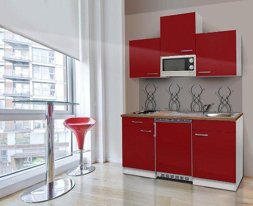 respekta KB150WRMI Küchenzeile Küchenblock Single Mini Küche WEISS ROT 150 cm mit Mikrowelle