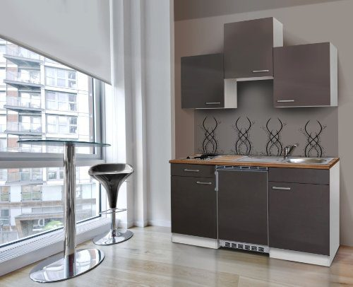 respekta Küchenblock 150 cm weiß grau mit APL Butcher Nussbaum KB150WG