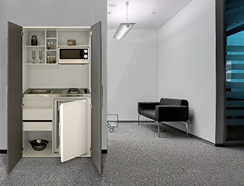 respekta Single Büro Pantry Küche Miniküche Schrankküche weiß Front grau