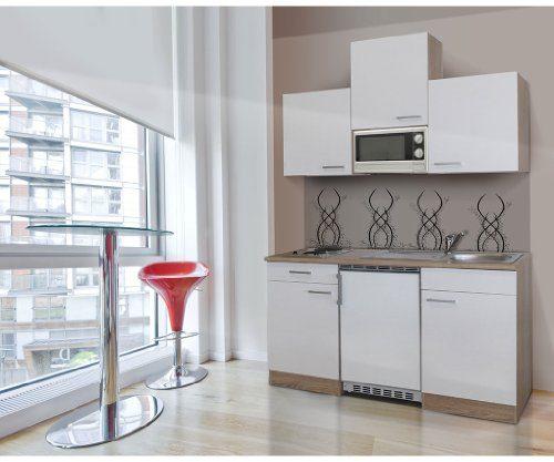 respekta Single Mini Küche Küchenzeile Küchenblock 150 cm Eiche sägerau weiss APL Eiche sägerau Nachbildung Mikrowelle KB 150 ESWMI