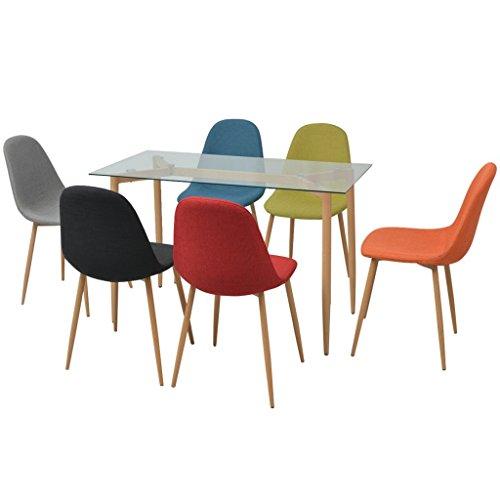 Festnight 7-teilige Essgruppe inkl. 1 Esstisch und 6 Essstühle Küchen Sitzgruppe Esszimmertisch Esszimmerstühle