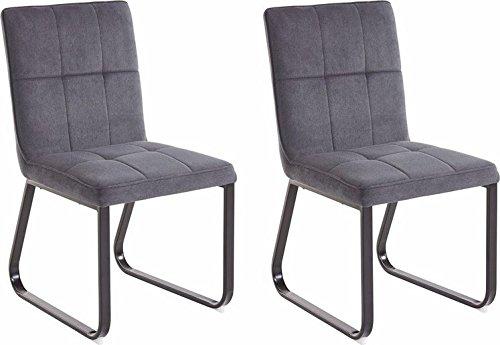 CAVADORE Esszimmerstuhl  im 2-er Set TILDA / 2x gepolsterte Stühle in klassischem Design / Bezug Vintage Kunstleder in dunklem GRAU und verchromtem Metallgestell / 56x86x55cm (BxHxT)