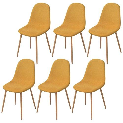 Festnight 6 Stk. Esszimmerstühle Set Essstuhl Küchenstühle Esszimmer Stuhl-Set 45 x 55 x 85 cm Stoff Gelb